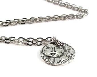 Sun Moon Stars Necklace Silver Chain