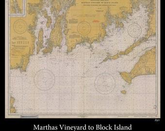 Nautical Map of Marthas Vineyard - 1930