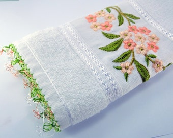 Hand Towel, Hand Crocheted Lace Edgings ,Emroidery Cotton towel ,Kitchen towel,Crafts , Mother's day gifts