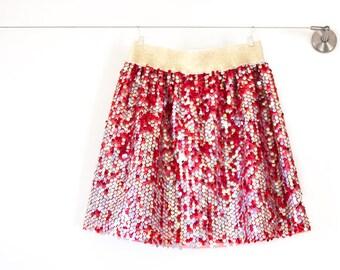 Girl Sequin Skirt, childs skirt, tween skirt, red girl skirt, toddler skirt, special occasion, red clothing, 4T, 5, 6, 7, 8, 10, 12 sizes