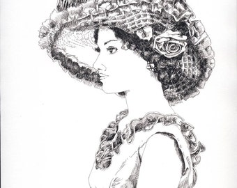 """Portrait of a woman in a flowery hat, original drawing, ink, 9x11.5"""""""