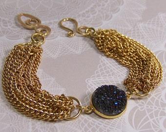 Multi Gold Chain Druzy Quartz Raw Crystal Bracelet Boho Chic Vintage Repurposed Jewelry