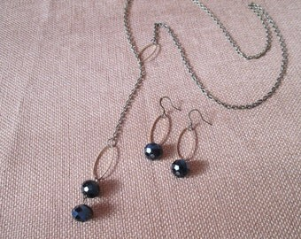Antique Bronze Swarovski Lariat Necklace and Earrings Set by The Darling Duck
