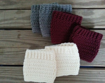 Crochet Boot Cuffs, Boot Toppers, Boot Socks -  Cream, Grey, Burgundy 10.00 a PAIR