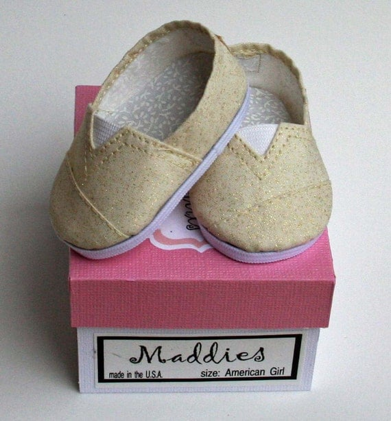 MADDIES - Toms Style Shoes for American Girl,18 inch Doll - Gold Sparkle