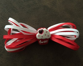 Sweet Red and White Ribbon Hair Clip with Resin Cupcake