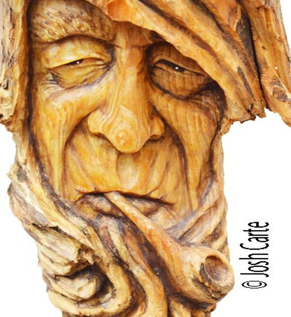 Pipe Wood Spirit Carving, Smoking Wood Face Sculpture, Wood Art ...