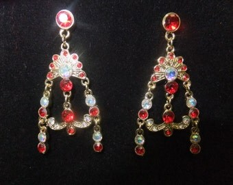 Gold and Crimson Jeweled Earrings