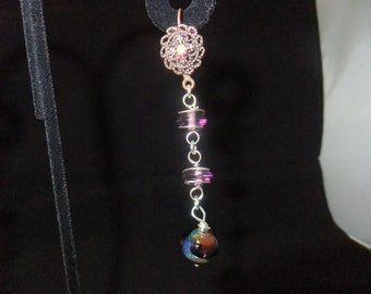 Wrapped Purple Stone & Copper Jeweled Leverback Earrings