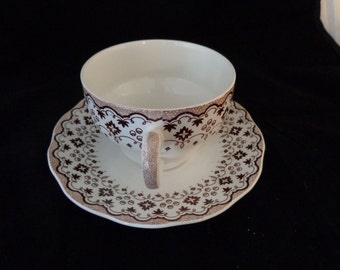 Vintage Brown Transfer Print Teacup and Saucer Plate - Lille pattern by Wedgewood & Co Ltd, England