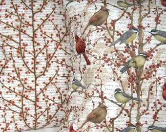 Winter Pillow Cover Set, Throw Pillow, Cushion, Berry Branches, Winter Birds, Envelope Closure, Winter, Home Décor, Nature