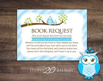 Wonderful Instant Download Blue Owl Book Request For Boy, Blue Brown Owl Book In Lieu  Of