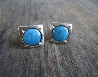 Hickok Turquoise and Silver tone Cuff Links