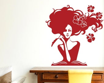 Woman In Deep Thought With Flowers Wall Sticker