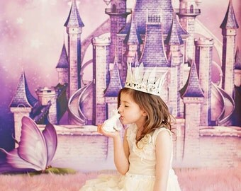 4ft x 4ft Fairy Tale Princess Castle Photo Backdrop - Fantasy Photography Backdrop - Vinyl or Poly - Item 1650