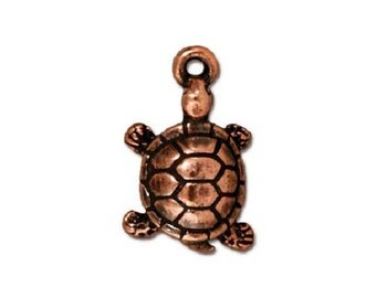 4 TierraCast Turtle Charms - Copper Plated Pewter Charms - 19 mm x 11 mm