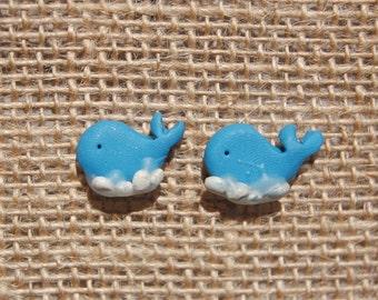 Whale Post Earrings
