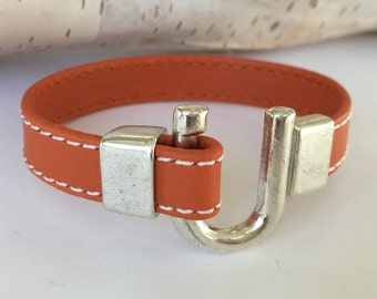 Stitched Orange Leather Horseshoe Bracelet, Equestrian Bracelet,  Leather Bangle, Orange Leather and Silver Tone Clasp