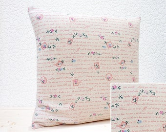 "Handmade 16""x16"" All Linen Cushion Pillow Cover in Pink/Blue Floral Handwritten Script Postage Stamp Design Print"