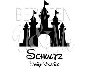 Personalized Castle Family Vacation Iron On Decal Vinyl for Shirt