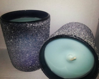 Sky River (floral rain) scented blue soy votive candle