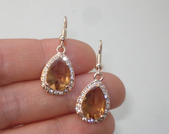 Topaz Crystal Drop Earrings - Rose Gold Champagne - Diamante Jewelry - Bridal Wedding