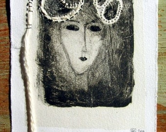 Mixed Media original, monotype chine colle, embroidery