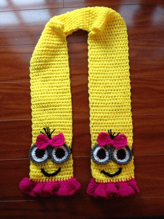 Free Crochet Pattern For Minion Scarf : Despicable Me Crochet Girl Pink and Yellow Minion Scarf With