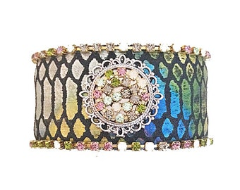 Iridescent Black Leather Cuff Bracelet - Adorned With Turquoise & Pink and Opalescent Rhinestone Cup Chain Border