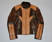 70s Leather Jacket - Retro Vintage Seventies Brown Colorblock Leather and Suede Starsky and Hutch Coat