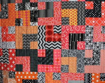 "Modern Baby Quilt; ""William"" Contemporary; Geometric; Coral; Peach; Baby Quilt; Lap Quilt; Play Mat; Wall Hanging"