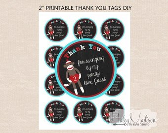 Sock Monkey Personalized thank you tags DIY PRINTABLE FILE