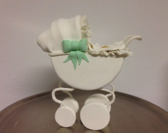 Baby gum paste carriage, baby clay carriage, baby gum paste stroller, baby clay stroller