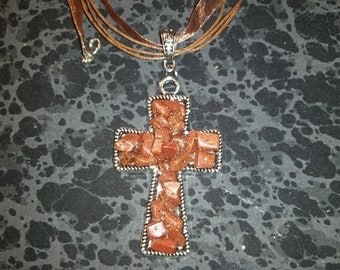 Gold Sandstone Cross Necklace