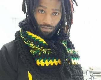 Based in NYC - The Hottest Handmade Crocheted Jamaican Blended Infinity Scarf - Can wraps around the neck, pocket & hood attached/detached