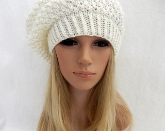 Knit Hat Slouchy Beret Beanie Handmade..Winter White 1 (Ready to Ship)