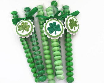 St Patrick's Day Party Favors ,M&M Candy Bags With Shamrock Tags, Shamrock Party Favors, Green, Classroom Favors, Treat Bags, Party Favors