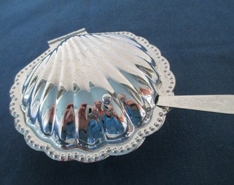 Vintage Silver Clam Shell Butler Dish With Serving Knife Beach Housewares Serving Dining Nautical Dinnerware Dip Bowl Dish