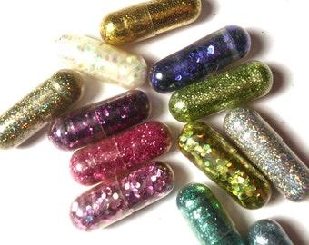 Glitter Pills, Glitter Pill, Sparkle Pill, 10 Pills, Unique Gift, Unusual Gift, Funny Gift, Gag Gift, Raver Gift, Girl Gift, Craft Gift