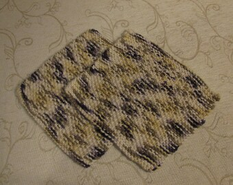 Hand knit organic cotton wash cloths or dish cloths, set of 2