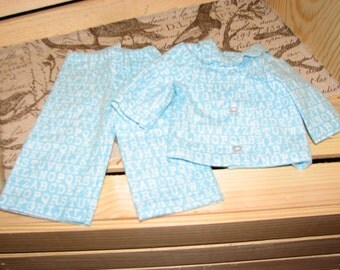 18 inch doll Aqua ABC Pajamas