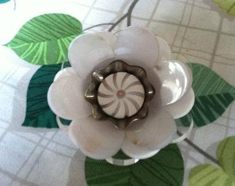 Antique Button Floral Pin