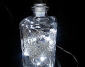 Shabby Chic Upcycled Decanter Bottle Glass Light Lamp (White LEDs) GIFT