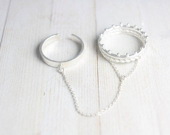 Two sterling silver linked rings, double ring, chain ring, statement ring, stacking, white ring, silver ring, gift for her, spring, summer