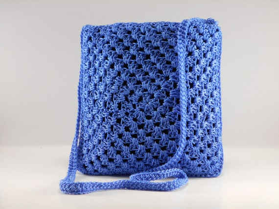 Crochet Crossbody Purse : Blue Crossbody Bag, Crossbody Purse, Crochet Purse, Blue Shoulder Bag ...