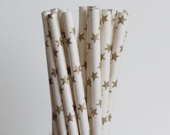 Gold Star Paper Straws-Star Straws-Metallic Gold Straws-Mason Jar Straws-Wedding Straws-Party Straws-Mason Jar Straws-Gold Paper Straws