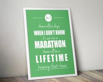 Marathon Motivation Poster, Quote Poster, Marathon Inspiration, 26.2 Poster