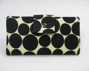 Womens Wallet,  Ladies Wallet, Handmade Black And Cream  Wallet