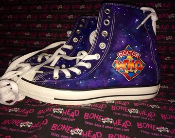Classic DOCTOR WHO inspired hand painted authentic Converse All-Star - size men 8 ladies 10
