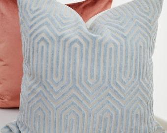 Blue Velvet Pillow Cover,Blue Geometric Velvet Pillow, Duralee Designer Pillow,Sky Blue Pillow Cover,Porcelain Blue Velvet,